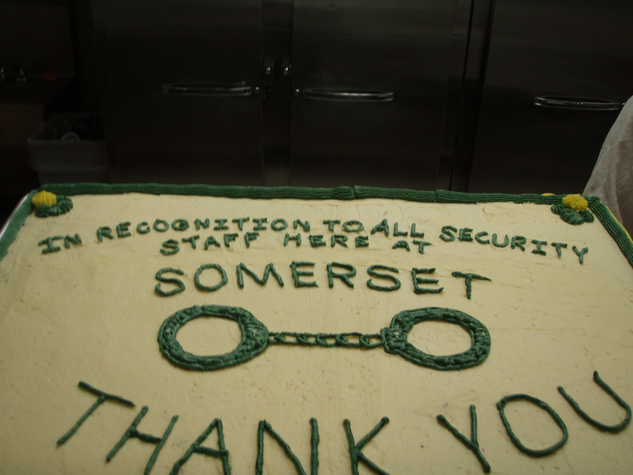 A cake honoring SCI Somerset's security staff