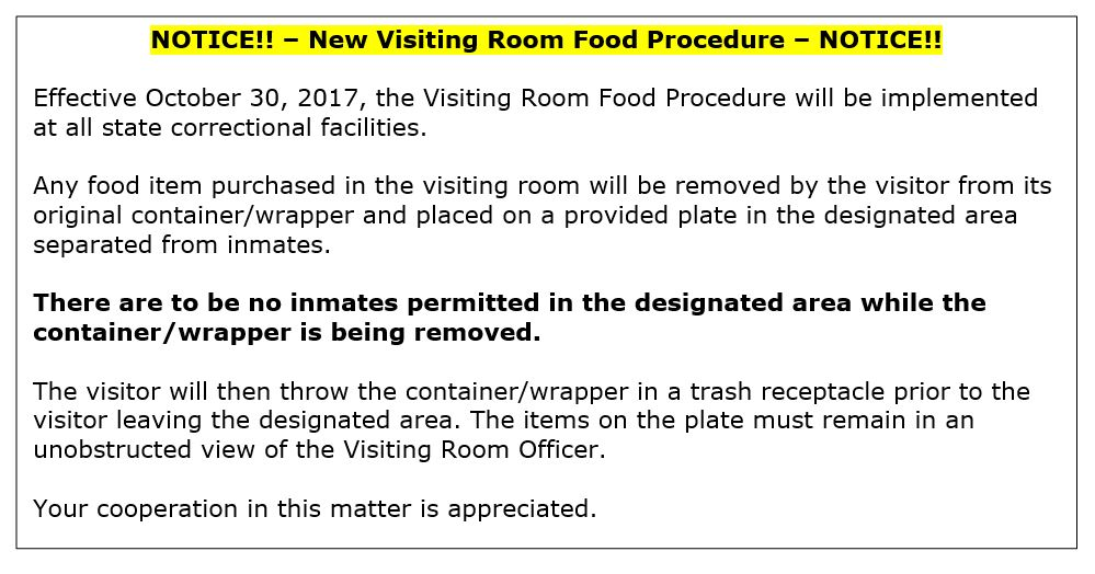 IMAGE - NEW visiting room food procedure 10-30-2017.JPG
